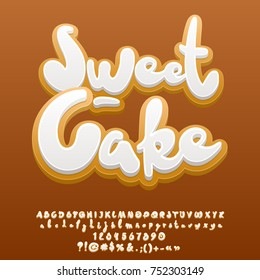 Vector sweet ginger cake Alphabet set. Tasty Letters, Numbers and Symbols.