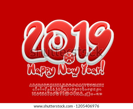 vector sweet happy new year 2019 greeting card with set of letters symbols and numbers