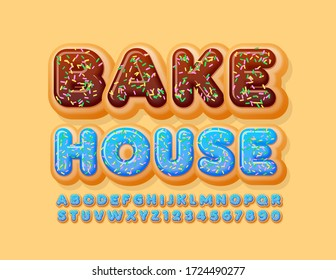 Vector sweet logo Bake House with Blue Glazed Font. Donut Alphabet Letters and Numbers with Sprinkles