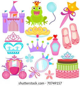 Vector of Sweet Princess theme with pastel castle, frog prince, crown, pink carriage, cake. A set of cute and colorful icon collection isolated on white background