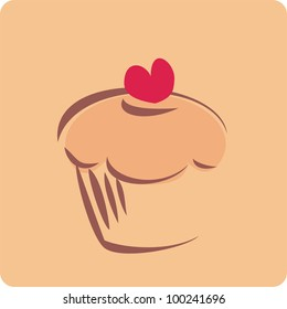 Vector sweet retro cupcake silhouette with red heart on top. Simple muffin icon on background. I love sweets! Flat design element, hand drawn logo, sign, symbol or illustration