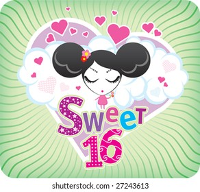 Vector Sweet Sixteen greeting card