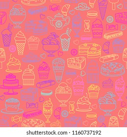 Vector Sweets seamless pattern. Include confectionery icon, cute various desserts.