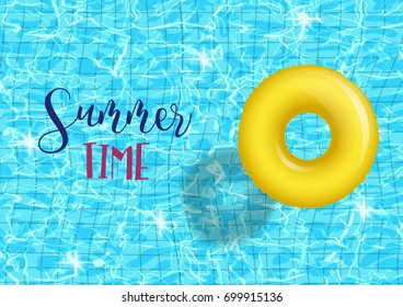vector swim ring on swimming pool Turquoise rippled water texture.illustration on a blue textured background Inflatable rubber toy. Realistic  Pool party Summer time poster Top view swimming circles.
