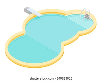 Vector swimming pool with a diving board. Swimming pool. Circular resort pool with diving board.