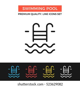 Vector swimming pool icon. Premium quality graphic design. Modern signs, outline symbols collection, simple thin line icons set for websites, web design, mobile app, infographics