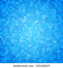 Vector swimming pool ripple water texture surface with sunlight glare background. Top view summer background