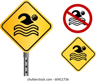 vector swimming signs (and no gradient color version)