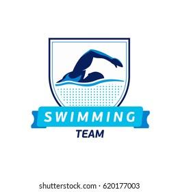 Vector swimming team logo. Swimmer silhouette in water. Creative badge. Triathlon concept. Flat design.