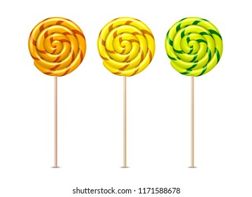 Vector swirl lollipops set. Orange, yellow and green spiral sucker candy, realistic sweet dessert food, striped delicious snack. Kids colorful tasty treat collection, isolated illustration.