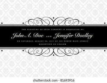Vector Swirl Ornament Banner and Seamless Pattern. Easy to edit. Perfect for invitations or announcements.