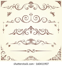 Vector swirl ornate motifs. Elements can be ungrouped for editing.