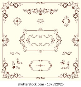 Vector swirl ornate motifs and frames. Elements can be ungrouped for easy editing.