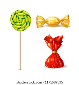 Vector swirl spiral lollipop, chocolate truffle and caramel candy and wrapping set. Orange, green sucker, red yellow candy packaging realistic sweet food, delicious snack. Kids tasty treat collection,