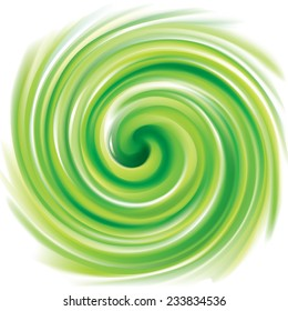 Vector swirling backdrop. Beautiful spiral liquid surface light green color