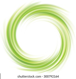 Vector swirling backdrop. Beautiful spiral liquid surface light green color with glowing white center in middle of funnel