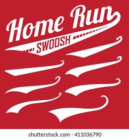 Vector Swooshes Swishes, Swooshes, and Swashes for Typography on Retro Baseball Tail Tee shirt