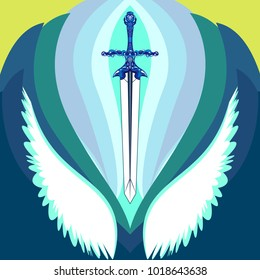 Vector sword and wings.