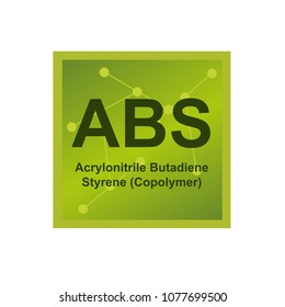Vector symbol of Acrylonitrile butadiene styrene (ABS) polymer on the background from connected macromolecules