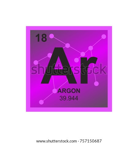 Vector Symbol Argon Periodic Table Elements Stock Vector Royalty