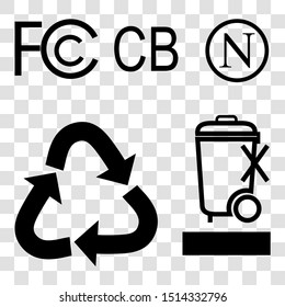 Vector Symbol at Charger, Adaptor, Power Converter, Battery and other related, F, C, C B, N, do not litter, recycle, C, E, F, at transparent effect background
