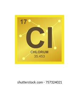 vector symbol of chlorine from the periodic table of the elements on the background from connected - Periodic Table Chloride Symbol