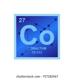 Vector symbol of Cobalt from the Periodic Table of the elements on the background from connected molecules