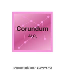 Vector symbol of Corundum mineral (Al2O3) from the Mohs scale of mineral hardness on the background from connected molecules
