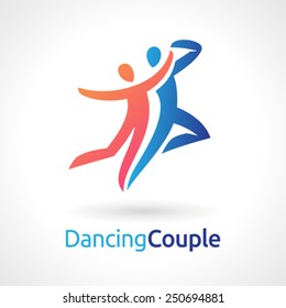 Vector symbol of a dancing couple.