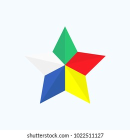 Vector symbol for the Druze community: Druze five coloured star, a symbol of religion and people unity.