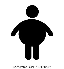 Vector symbol of fat and obese person. Overweight man has coprulent figure and physique because of excessive weight.