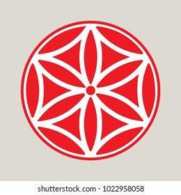 Vector symbol: The flower of Aphrodite made up of six Vesica Piscis. The Rose of Aphrodite, known as the Flower of Love or Venus, that embraces the power of attraction. Great also as Heraldic Rose.