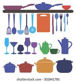 vector symbol fork food kitchen silhouette pans