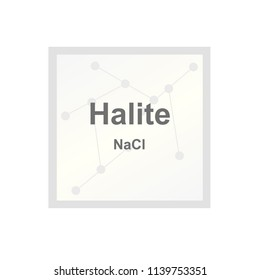 Vector symbol of Halite mineral (Nacl) - type of salt from the Mohs scale of mineral hardness on the background from connected molecules
