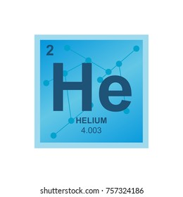 Vector symbol of Helium from the Periodic Table of the elements on the background from connected molecules