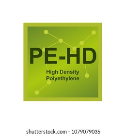 Vector symbol of High density polyethylene (HDPE or PE-HD) polymer on the background from connected macromolecules
