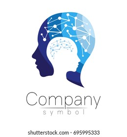 Vector symbol of human head. Profile face. Blue color isolated on white background. Concept sign for business, science, psychology, medicine. Creative sign design Man silhouette. Modern logo
