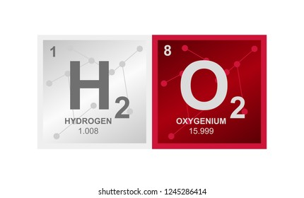Vector symbol of hydrogen peroxide H2O2 compound consisting from hydrogen and oxygen atoms and molecules on the background from connected molecules