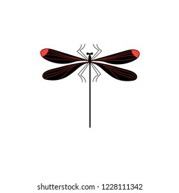 Vector symbol of isolated dragonfly sign on a white background