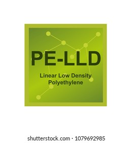 Vector symbol of Linear low density polyethylene (LLDPE or PE-LLD) polymer on the background from connected macromolecules