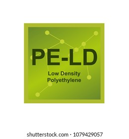 Vector symbol of Low density polyethylene (LDPE or PE-LD) polymer on the background from connected macromolecules