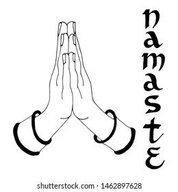 Vector symbol of namaste of hands, inscription of namaste stylized as an Indian font. Isolated on white background linear black graphics. For logo, design, cards, calligraphy, business