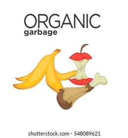 Vector symbol of organic garbage. Icon of food waste or rubbish for compost: banana peel and apple stub. Cartoon design element for pollution environment and ecology. Illustration isolated on white