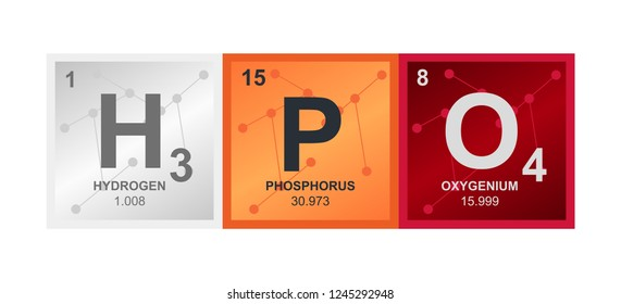 Vector symbol of Phosphoric acid H3PO4 compound consisting from hydrogen, phosphorus and oxygen atoms and molecules on the background from connected molecules