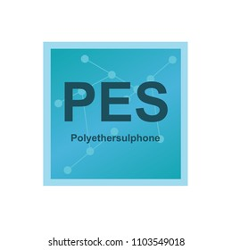 Vector symbol of Polyethersulphone (PES) polymer on the background from connected macromolecules