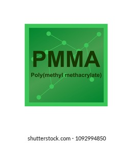 Vector symbol of Poly(methyl methacrylate) (PMMA) polymer on the background from connected macromolecules