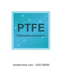 Vector symbol of Polytetrafluoroethylene (PTFE) polymer on the background from connected macromolecules