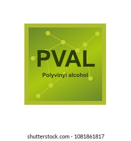Vector symbol of Polyvinyl alcohol (PVA, PVOH or PVAL) polymer on the background from connected macromolecules