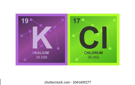 Vector symbol of potassium chloride which consists of potassium and chlorine on the background from connected molecules