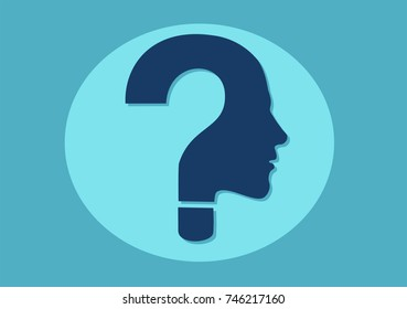 vector symbol of question mark in a shape of human face on blue background.
